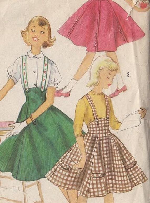 Vintage Pattern 1950s Girls Six Gored Suspender Skirt