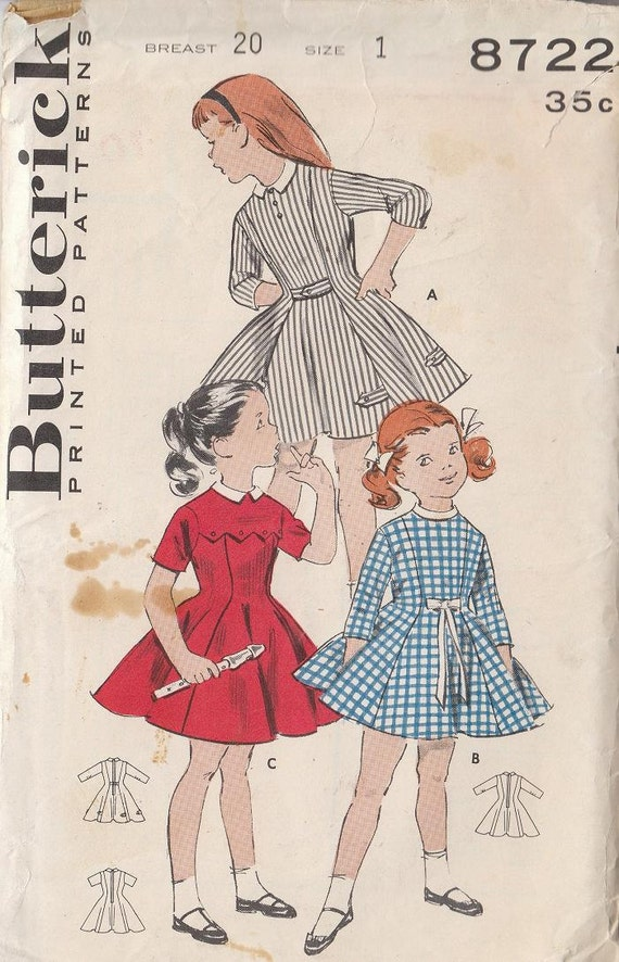 Vintage Pattern 1960s Girls Dress School or Party Yoked Princess Style