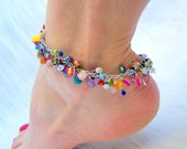 fringe anklet. multicolored.