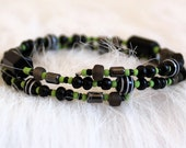lime green beaded bracelet.  memory wire beaded black beads glass wood gift under 20 FREE SHIPPING layering beaded wire bangle wrap bracelet