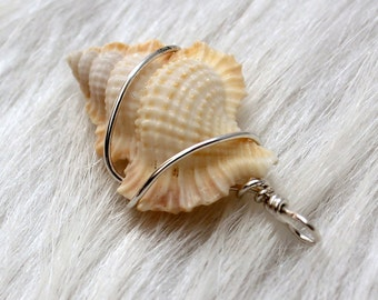 beach pendant / sterling wrapped maple leaf seashell pendant / wire wrapped seashell charm key fob baby frog romantic white ivory ornament