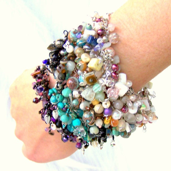 uniquenecks bracelet. beaded finge bracelet. sterling silver. beachy seashell beads and charms. wire wrapped jewelry