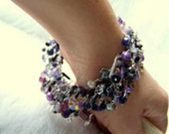 fine jewelry / amethyst desire / layered bracelet / sterling silver jewelry midnight amethyst / gothic goldstone dark and beaded
