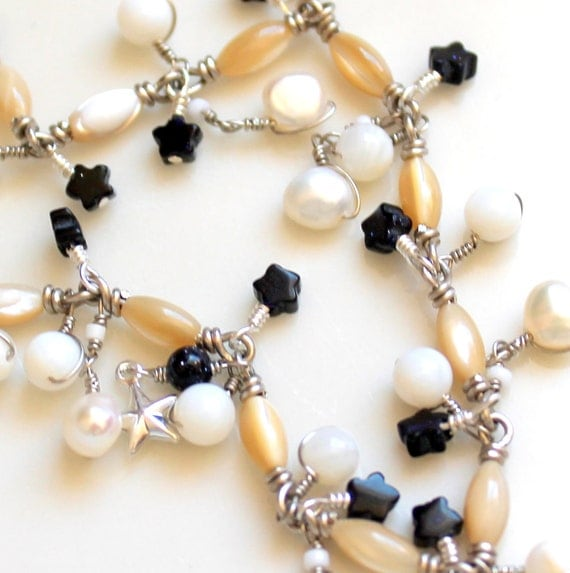 star bracelet. wedding wrapped mother of pearl pearl stacking bracelet with pearls and goldstone stars