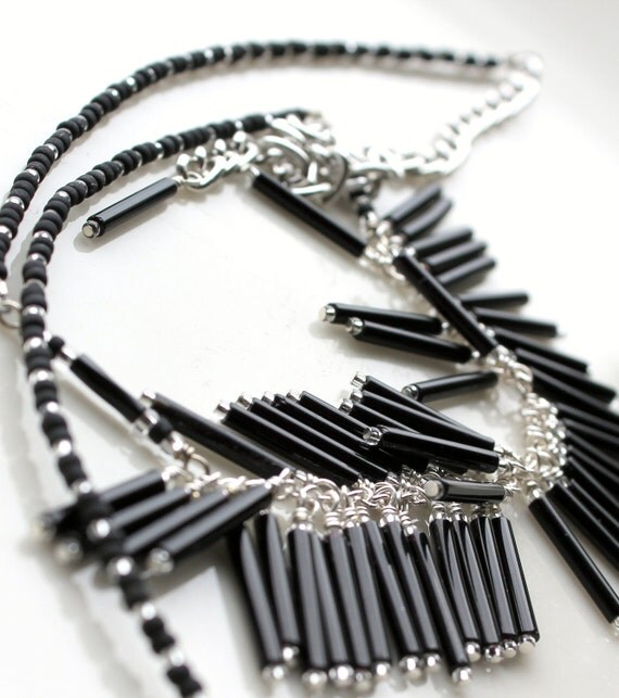 black bugle fringe necklace. wire wrapped and beaded uniquenecks handmade jewelry with extender chain. chic necklace black clear beads