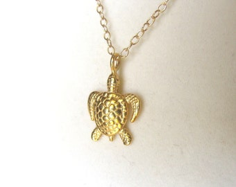 Turtle Necklace from Cougar Town- small gold turtle pendant, cute gift idea mom sister friendship gold filled chain Courtney Cox- sea turtle