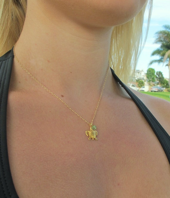 Sea Turtle Necklace in Gold personalized with Your  Birthstone, birthstone jewelry, August birthday, all birthstones available