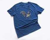 man's tshirt short sleeve hand stitched blue rooster