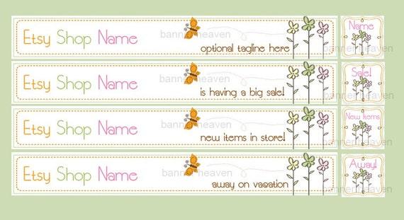 Premade Etsy Shop Banner with Matching Avatar (8 Piece Set ) - Green Garden