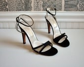 1970s vintage heels: size 7 1/2 deadstock black garolini high heel sandals