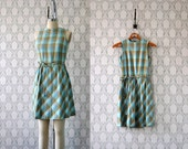 1960s vintage dress: aqua and butterscotch handmade plaid jumper