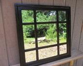 Black Square  Window Mirror , cottage  distressed  30 x 30
