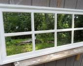 White   distressed  window rectangle  window  mirror   bath  kitchen