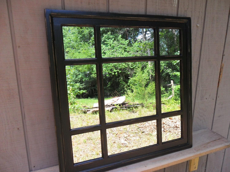 Black Square Window Mirror Cottage Distressed 30 X 30