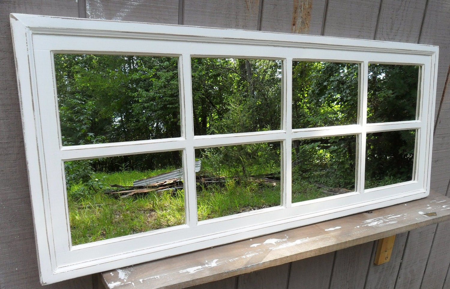 Window mirror rustic barnwood window mirror 24 x 24 9 pane for 2 pane window