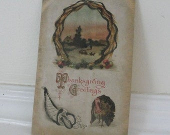 Thanksgiving Postcard Turkey Cornucopia Vintage Greeting 1918