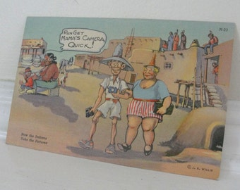 Indian Tourist Funny Vintage Postcard Phoenix Arizona 1942