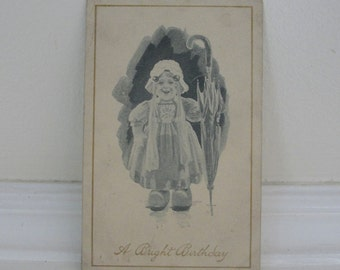 Little Girl Umbrella Vintage Postcard Antique Black and White Postcard