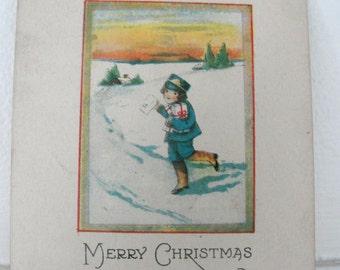 Christmas Vintage Postcard Holiday Greeting Winter Snow Scene Postcard 1921