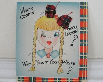 Whats Cookin Good Lookin Vintage Cute Girl with Pigtails Why Dont You Write Card
