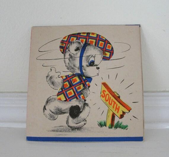 Vintage Little Bear Get Well Card 1940s Vintage Trick Card