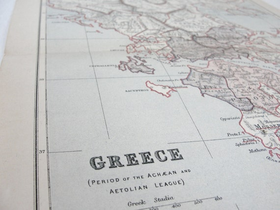 Antique Map of Ancient Greece, Ancient Geography 1905, Vintage Map of Greece