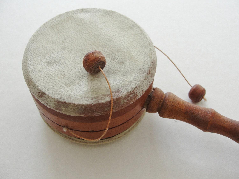 Vintage Toy Drum Vintage Handheld Toy Drum by MunasTreasures