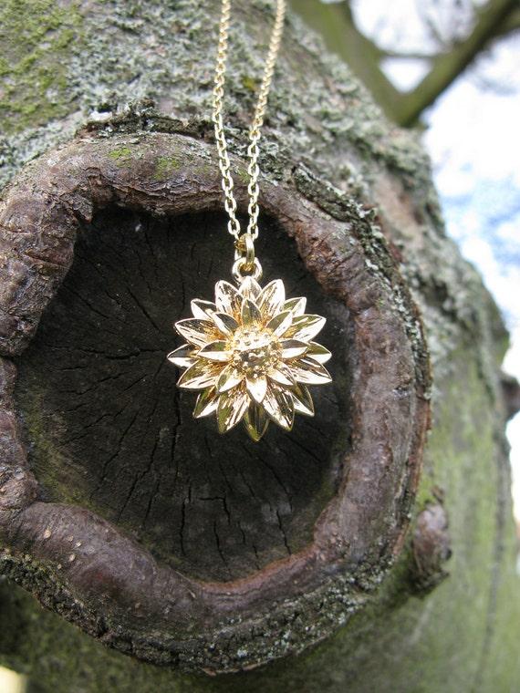 Sunflower flower charm necklace