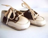 Vintage Baby Saddle Shoes Brown and White Size 0