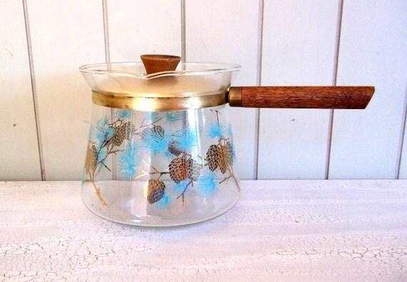 Vintage Glass Pot Douglas Flameproof Blue Pine Cone Glass Coffee Pot Tea Pot