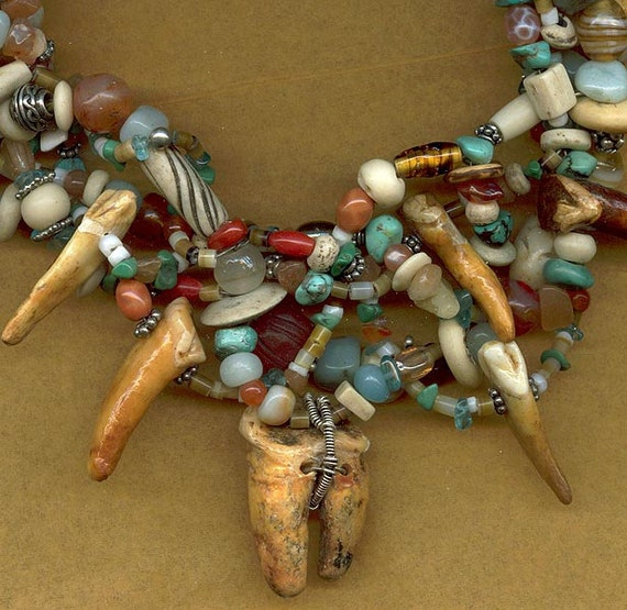 Awesome Clan of the Cave Bear Necklace - Real fossiled cave bear teeth, stones, bone, silver.....