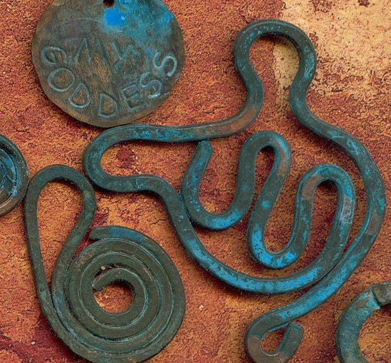 My Tribal Goddess - Bundle of Copper Wire Charms with Green Patina - Verdigris- Finish - Like found in a Dig - Lot No 2
