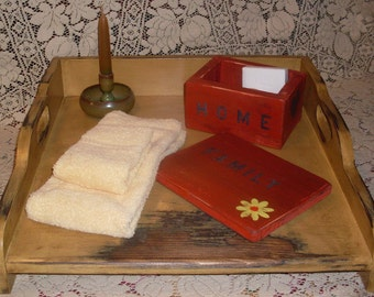 PRIMITIVE Country Noodle Board Stove Sink Cover SERVING or Vanity TRAY Carry All