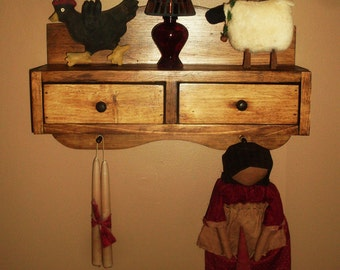 Handcrafted Pioneer Inspired PRIMITIVE WALL SHELF with two drawers and Peg Board Bottom Made To Order Shipping Included