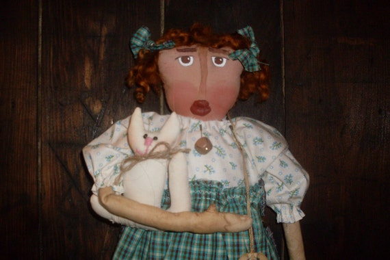 PRIMITIVE Folk Art DOLL holding  Her Kitty With 1891 Period Accurate Short Story Irish American History OOAK