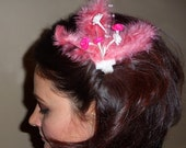 Pink  flower feather hair clip