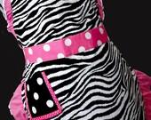 Pink Zebra & Polka Dots Vintage Style Apron