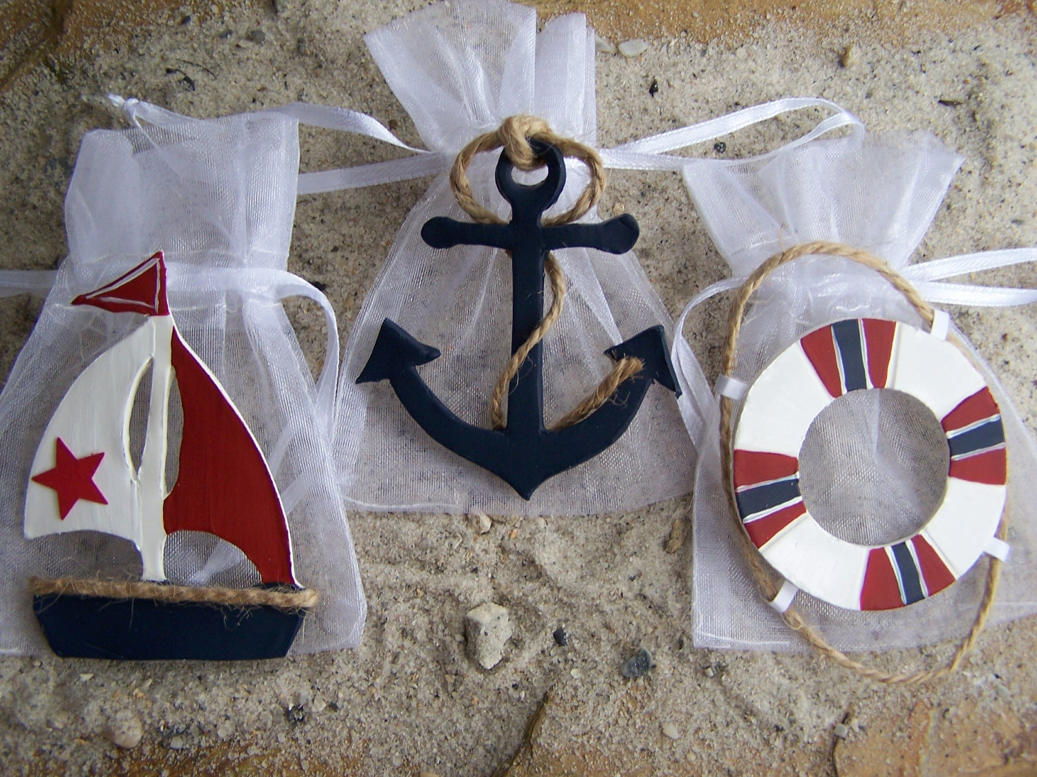 Nautical baby shower favor bags nautical birthday nautical for Anchor decoration party