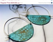 20%  SALE  february - Halfmoon Hoops - Turquoise Color