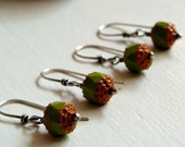 Snack Earrings - Orange and Green Czech Glass - READY TO SHIP