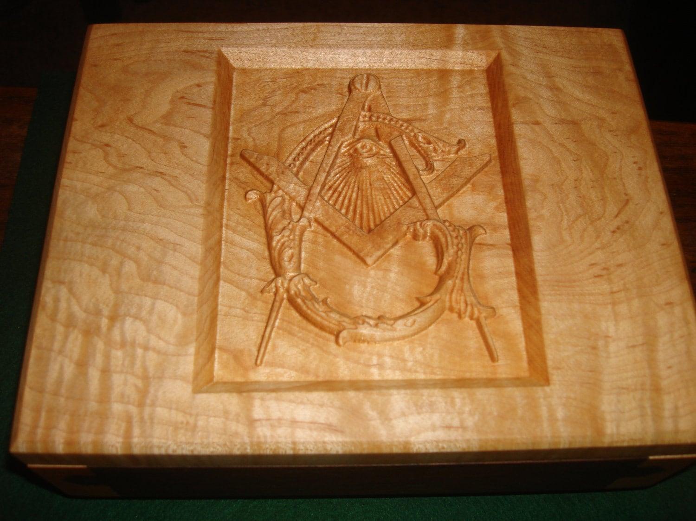 Masonic carved curly maple walnut jewelry box