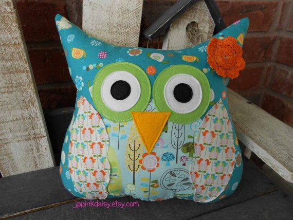 Custom Owl Pillow Chunky Shabby Hoot Owl / stuffed owl / bird / Custom made just for you / You Pick Colors And Fabric