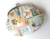 Patch Vintage stamps colorful coin purse