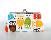 Colorful cute owls purse,make up bag,Mother's day gift
