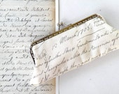 Vintage handwriting,letter,cream coin purse,kisslock frame