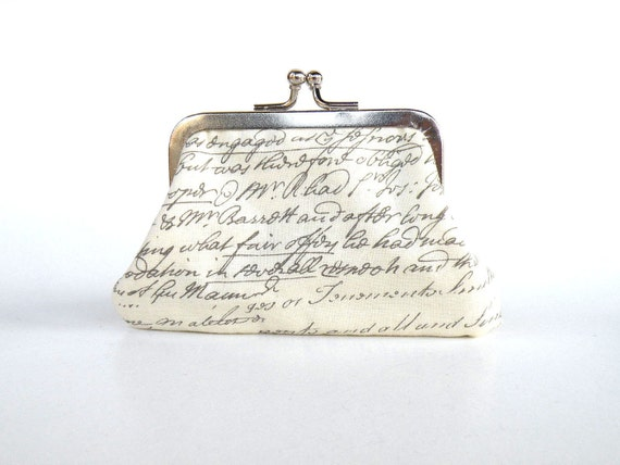 Vintage handwriting cream coin purse,small purse,Mother's day gift