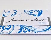 NEW Elegant Tri-fold Wedding Invitation with Perforated RSVP Postcard -AMELIA - grey, teal, blue (SAMPLE)