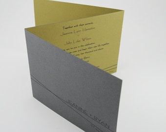 Olive Wedding Invitation, Contemporary Booklet Invitation RSVP postcard