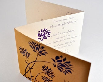 Floral Wedding Invitation in Purple and Gold - Modern Wedding Invite