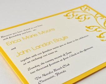 Modern Elegant Yellow Pocket Wedding Invitations with RSVP Postcard, Sample - Lilith